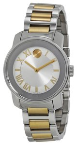 Movado Tone Silver Gold Stainless Steel Designer Ladies Casual Watch