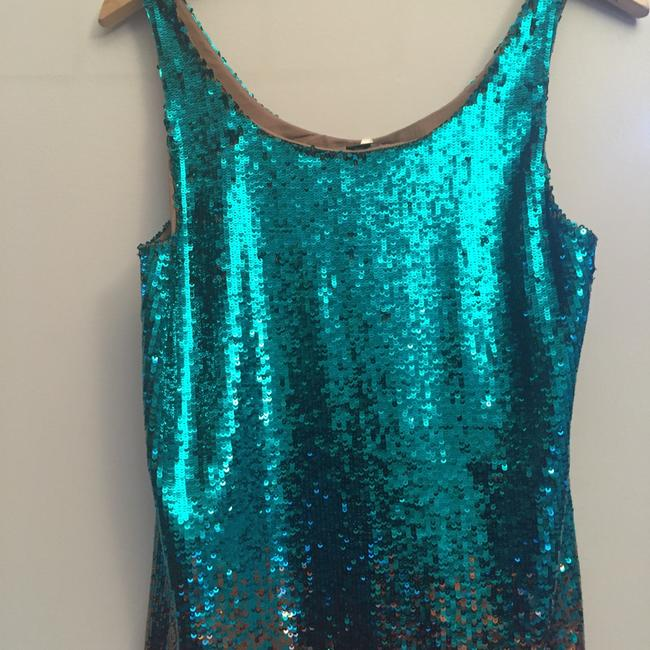 Haute Hippie Top Teal and Gold Image 1