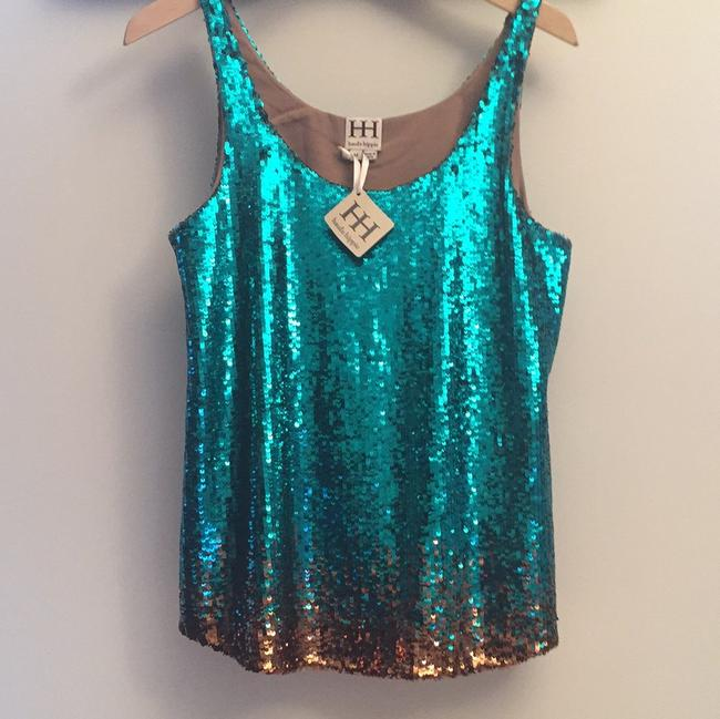 Haute Hippie Top Teal and Gold Image 3