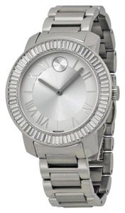Movado Crystal Set Bezel Silver Stainless Steel Designer Luxury Ladies Watch