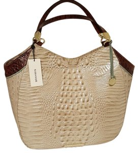 Brahmin Ex-large Leather Tote in LINEN/PECAN