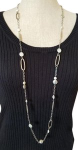 Brighton Brighton Silver Pebble Freshwater Pearl Long Necklace JN1112