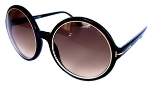 Tom Ford TOM FORD Carrie Black 01F Oversize Round Sunglasses