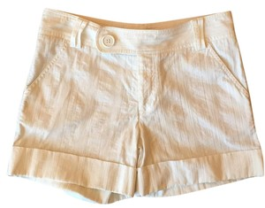 Catherine Malandrino Preppy Cuffed Linen Textured Dress Shorts White