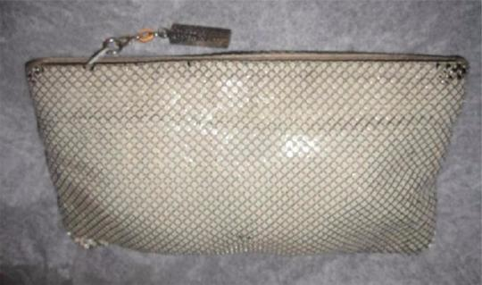 Whiting & Davis Early-mid 20th Cen. Zip Perfect Evening Classic W&d Cream Enamel Mesh Chainmaille Clutch Image 3