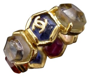 Chanel Chanel Ring Band Gripoix Glass Stones Multi Color Gold Tone US 7.25