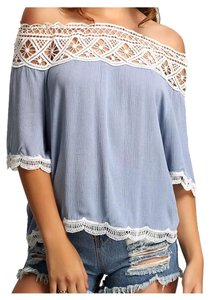 Other Bohemian Off Lace Crochet Denim Tunic