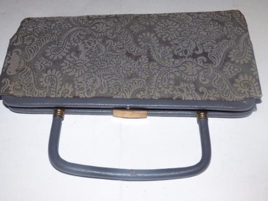 Other Early-mid 20th Cen. Perfect Evening Foldable Hard Handle Clutch/Handle Held High-end Evening grey and steely blue Clutch Image 1
