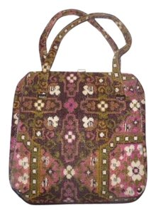 Other Early-mid 20th Cen. Floral Tapestry Intricate Print Hinged Opening Excellent Vintage Satchel in pinks, browns, greens