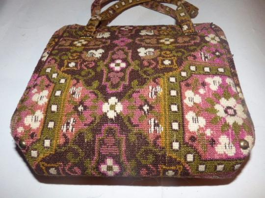 Other Early-mid 20th Cen. Floral Tapestry Intricate Print Hinged Opening Excellent Vintage Satchel in pinks, browns, greens Image 1