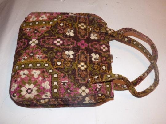 Other Early-mid 20th Cen. Floral Tapestry Intricate Print Hinged Opening Excellent Vintage Satchel in pinks, browns, greens Image 3