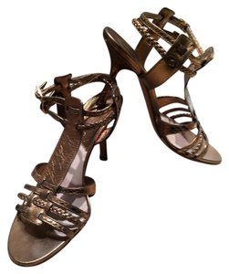 Dior Christian Leather Bronze Sandals