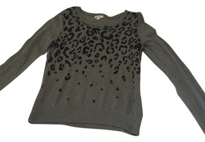 Merona Gray Black Animal Print Sweater