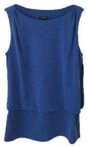 Ann Taylor Sleeveless Stretchy Polyester Machine Washable Top Blue