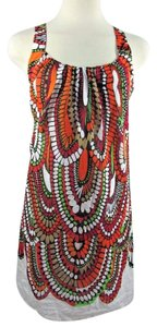 Anthropologie short dress multi-color Racer-back Keyhole Geometric Silk Blend A-line on Tradesy