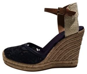 Tory Burch Navy Black Wedges