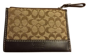 Coach 40089 Signature Brown Mini Skinny Key Ring Chain Coin ID Case