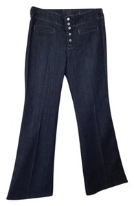 7 For All Mankind Buttons Trouser Flare Leg Jeans-Dark Rinse