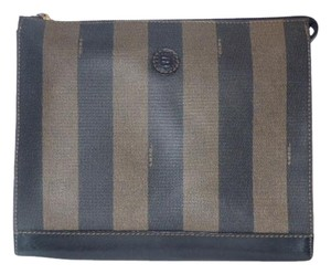 Fendi Mint Vintage Dressy Or Timeless Style pequin wide stripe print coated canvas and dark brown leather Clutch
