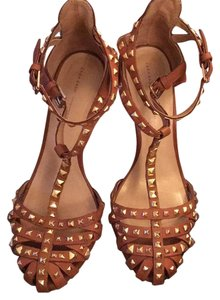 Zara Brown with gold studs Sandals