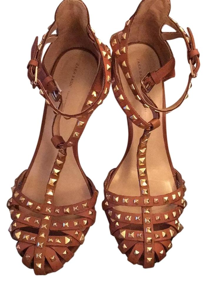 0584be25ada Zara Brown with Gold Studs Sandals Size US 9 Regular (M