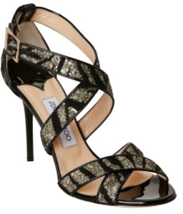 Jimmy Choo Glitter Pump BLACK&GOLD Sandals