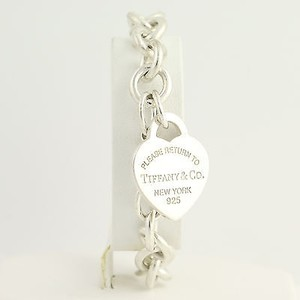 Tiffany & Co. Tiffany Co Heart Tag Charm Bracelet - Sterling Silver Engravable Chunky 7.25