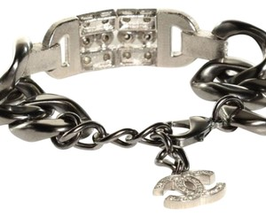 Chanel Chanel Brushed Gun Metal Chain-Link and Crystal Bracelet