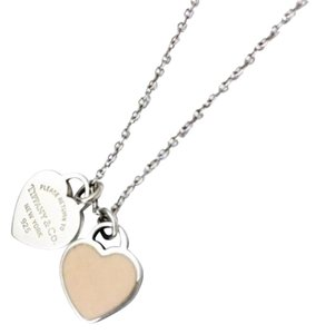 Tiffany & Co. Tiffany & Co Pale Pink Mini Double Heart Necklace In Silver