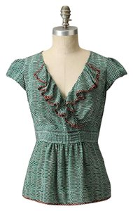 Anthropologie Silk Ruffle Odille Striped Top Teal