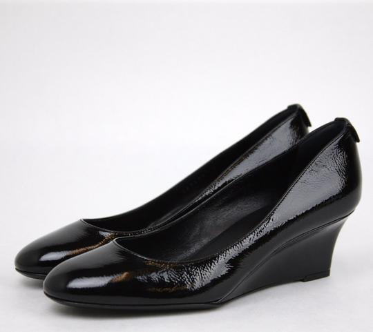 Gucci Patent Leather 269597 Interlocking G Wedge Black Platforms