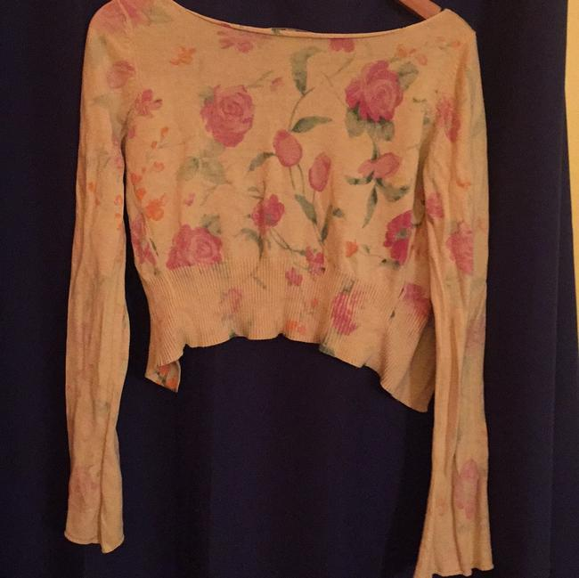 Laurie b. knitwear Pale Floral Cropped Relaxed Pastel Cardigan