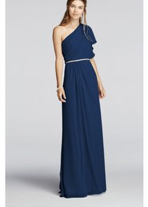 David's Bridal Marine Wonder By Jenny Packham One Shoulder Split Sleeve Chiffon Dress Dress