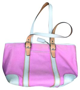 Coach Leather Canvas Tote in Pink