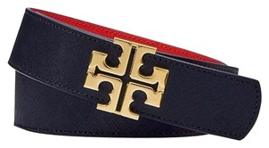 Tory Burch YORK SAFFIANO BELT TORY NAVY/POPPY RED size small