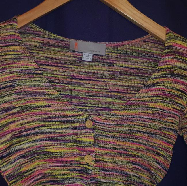 Missoni Bright Pink Green Cropped Shrunken Cardigan