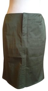 Prada Pencil Kick Pleat Skirt Olive Green