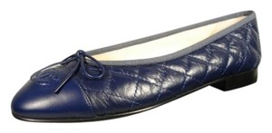 Chanel New Tumbled Leather Navy Blue Flats