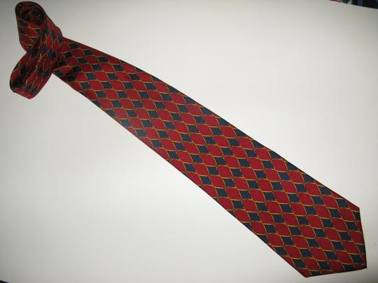 Pierre Cardin Pierre Cardin Traditional Red & Blue Pattern Silk Necktie