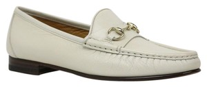 Gucci 283650 Leather Horsebit Loafer Womens Off White Flats