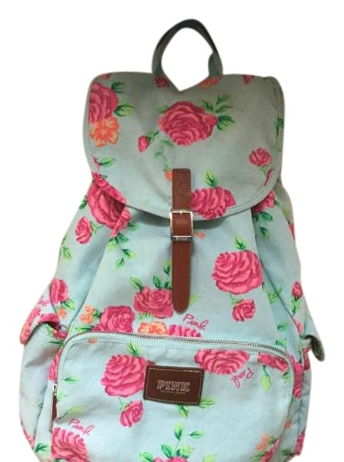 Item - Blue/Pink Flowers Cotton Backpack