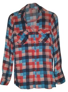 Papaya Button Down Shirt Mullti Color Plaid