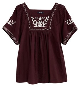 Madewell Maroon Short-sleeved Peasant Top Plum (Maroon)/White
