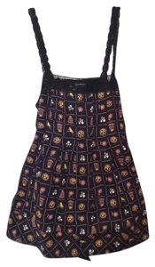 Odille Crochet Tank Sleeveless Xs Top Black, yellow, brown, orange, white