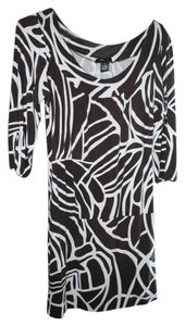 BCBGMAXAZRIA short dress Brown/White Stretch Jersey Tropical Print Abstract Boat Neckline Drop-waist on Tradesy