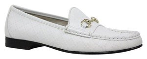 Gucci 309701 Leather Diamante Horsebit Loafer White Flats