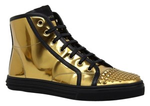 Gucci 370990 Hi-top Sneaker Leather Studded Leather Gold Athletic