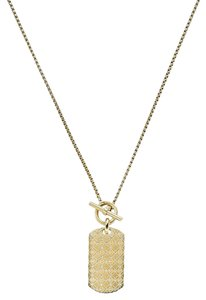Michael Kors Michael Kors Gold Heritage Monogram Logo Dog Tag Pendant Necklace 22