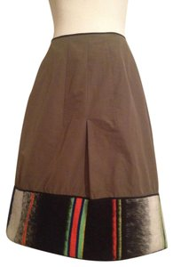 Hache Army Tribal Southwest A-line Skirt Olive green and multi