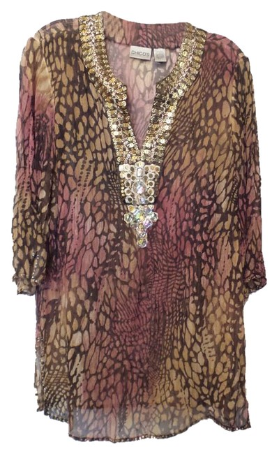 Item - Tan Brown Pink Silk Long Airy & Light Embellished Or M Tunic Size 8 (M)